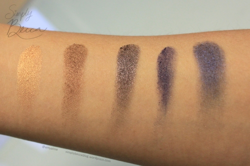 Inglot Eyeshadows. Left to Right: AMC Shine 25, AMC Shine 21, Pearl 434, DS 482, Pearl 428